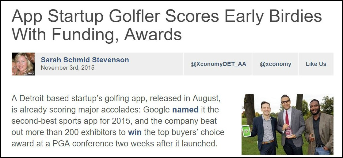 App Startup Golfler Scores Early Birdies With Funding, Awards